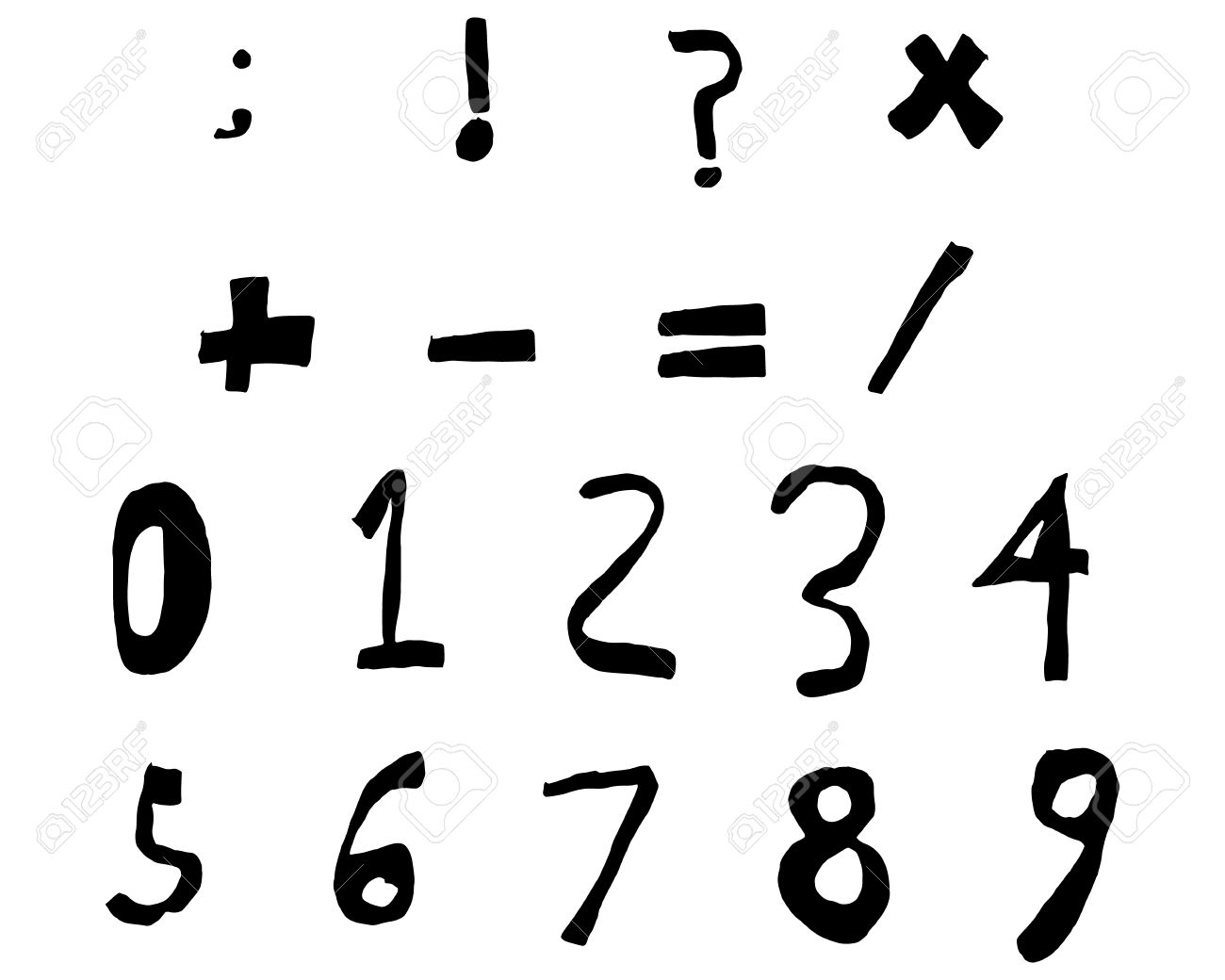 Hand Drawn Child Numbers And Basic Math Signs Black Bold, Vector ...