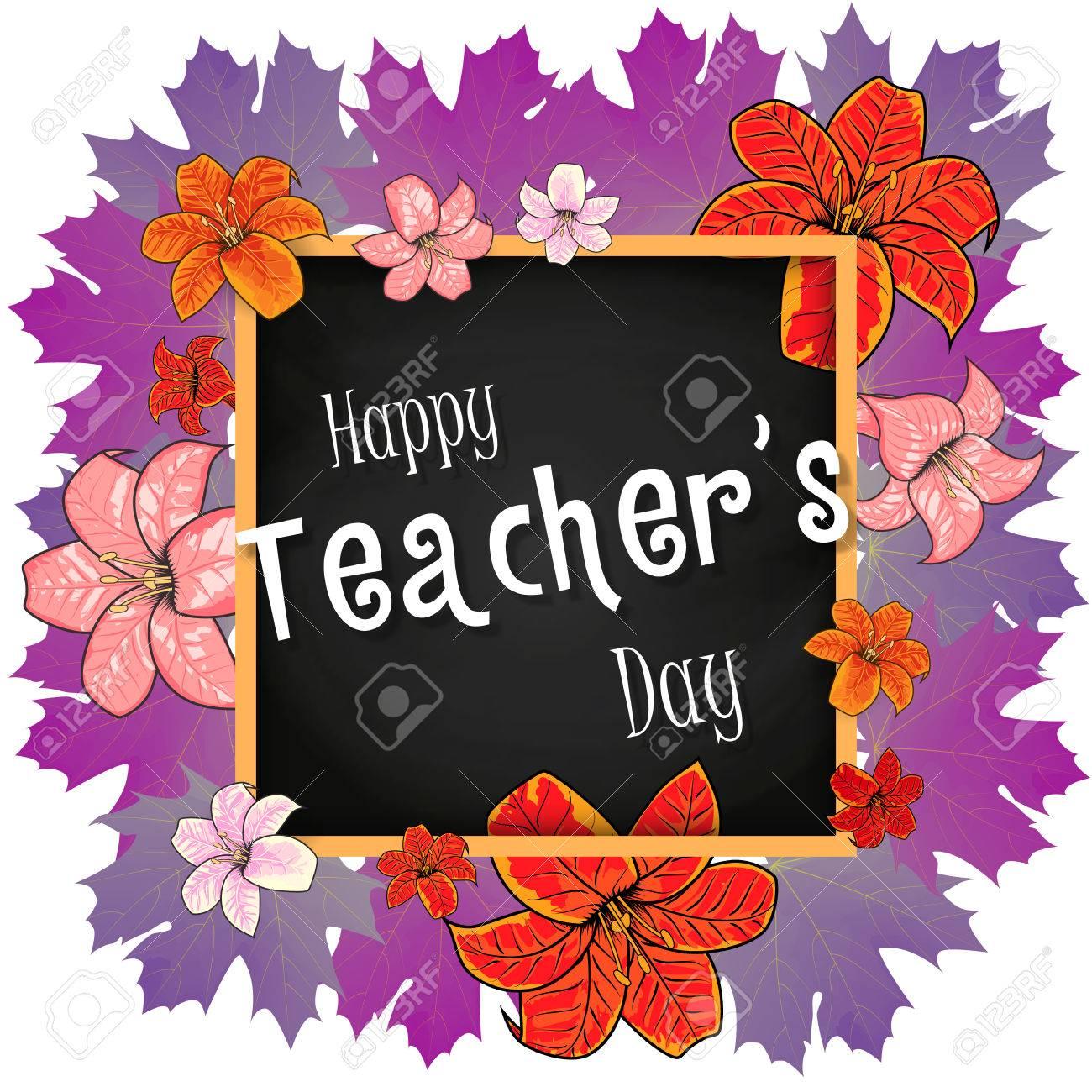 Congratulation Glücklich Lehrer-Tag - Mit Blättern, Rahmen Und ...