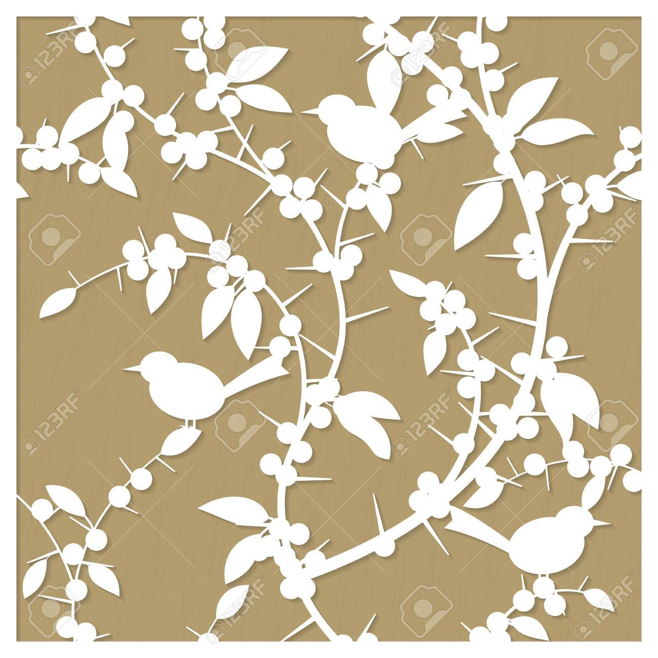 Laser cut decorative pattern with blackthorn berries and birds