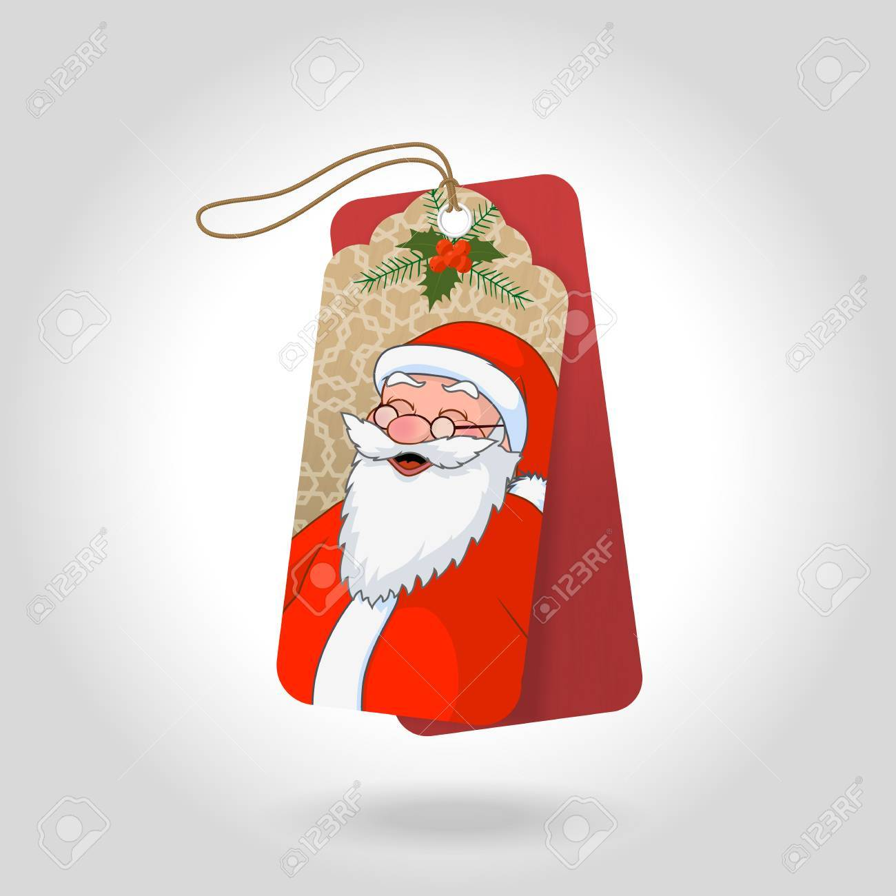 cute christmas gift tags with funny squinted santa claus and