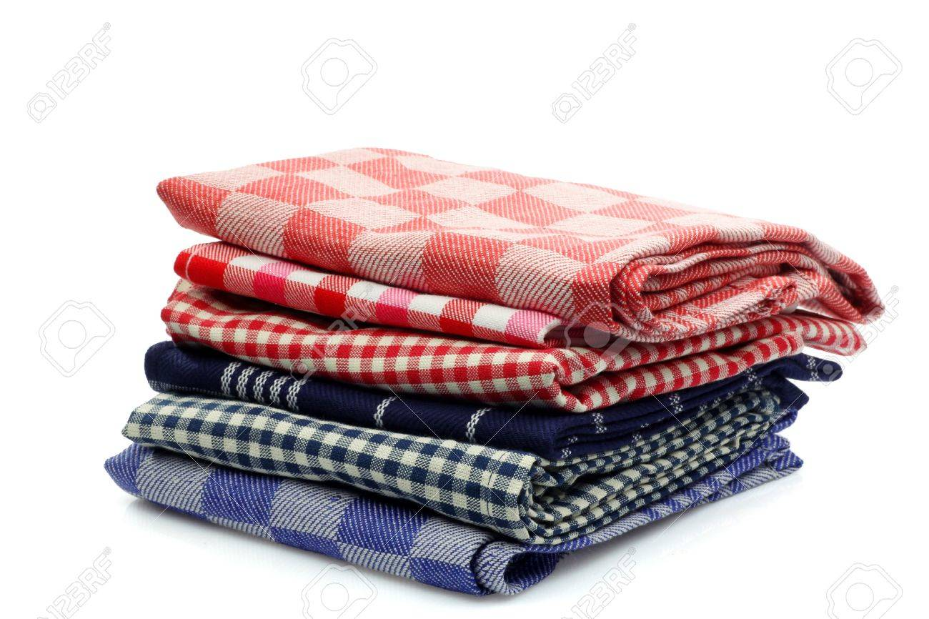 Red And Blue Checkered Kitchen Towels On A White Background Stock Photo    14943579