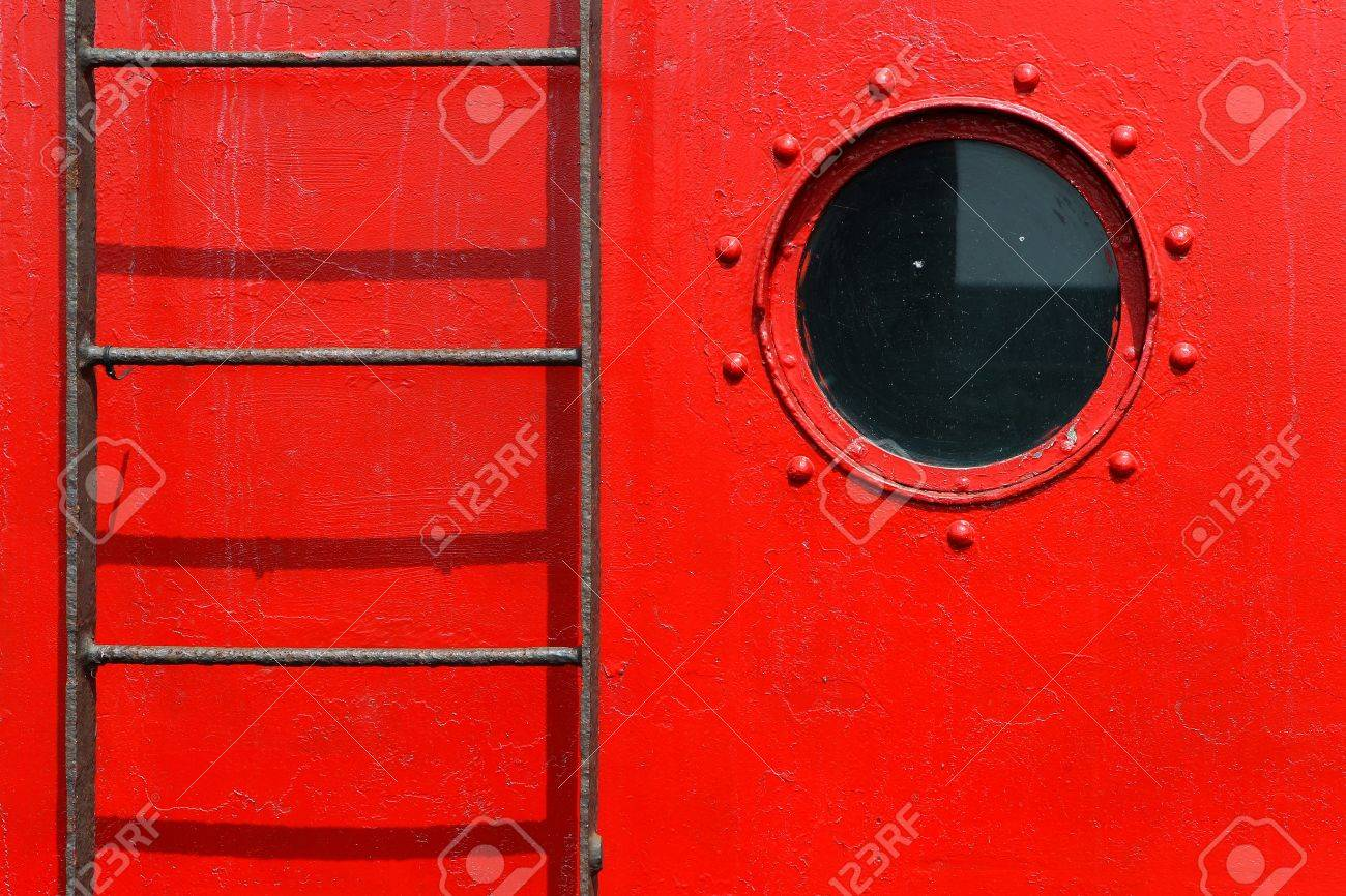 porthole and ladder on a red ship Stock Photo - 15081999