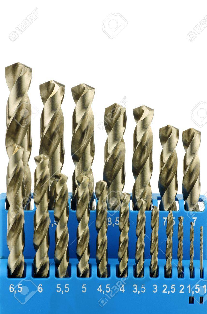Set Of Hardened Steel Metal Drill Bits In A Blue Plastic Box Stock Photo Picture And Royalty Free Image Image 15109254