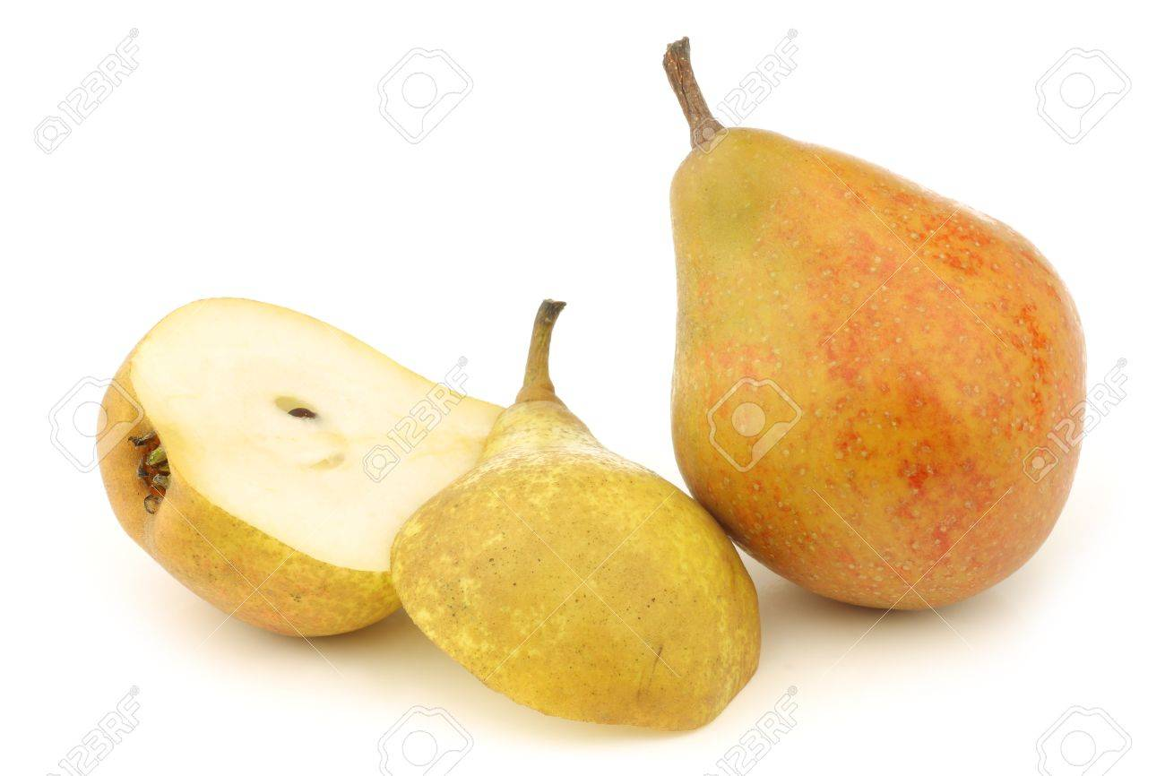one cooking pear  Gieser Wildeman  and a cut one on a white background Stock Photo - 18191000