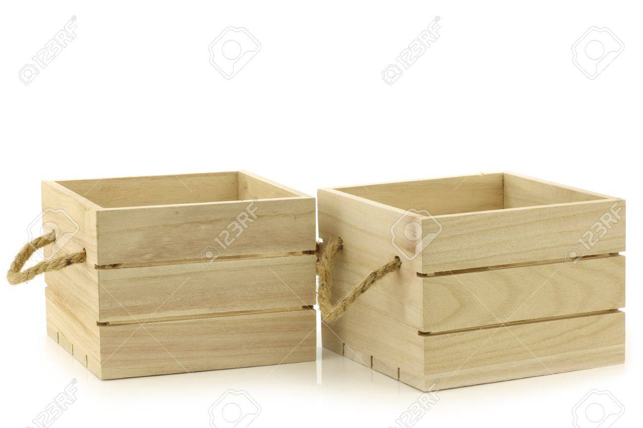 Wooden Crate With Handles Wooden Crates With Rope Handles On A White Background Stock Photo
