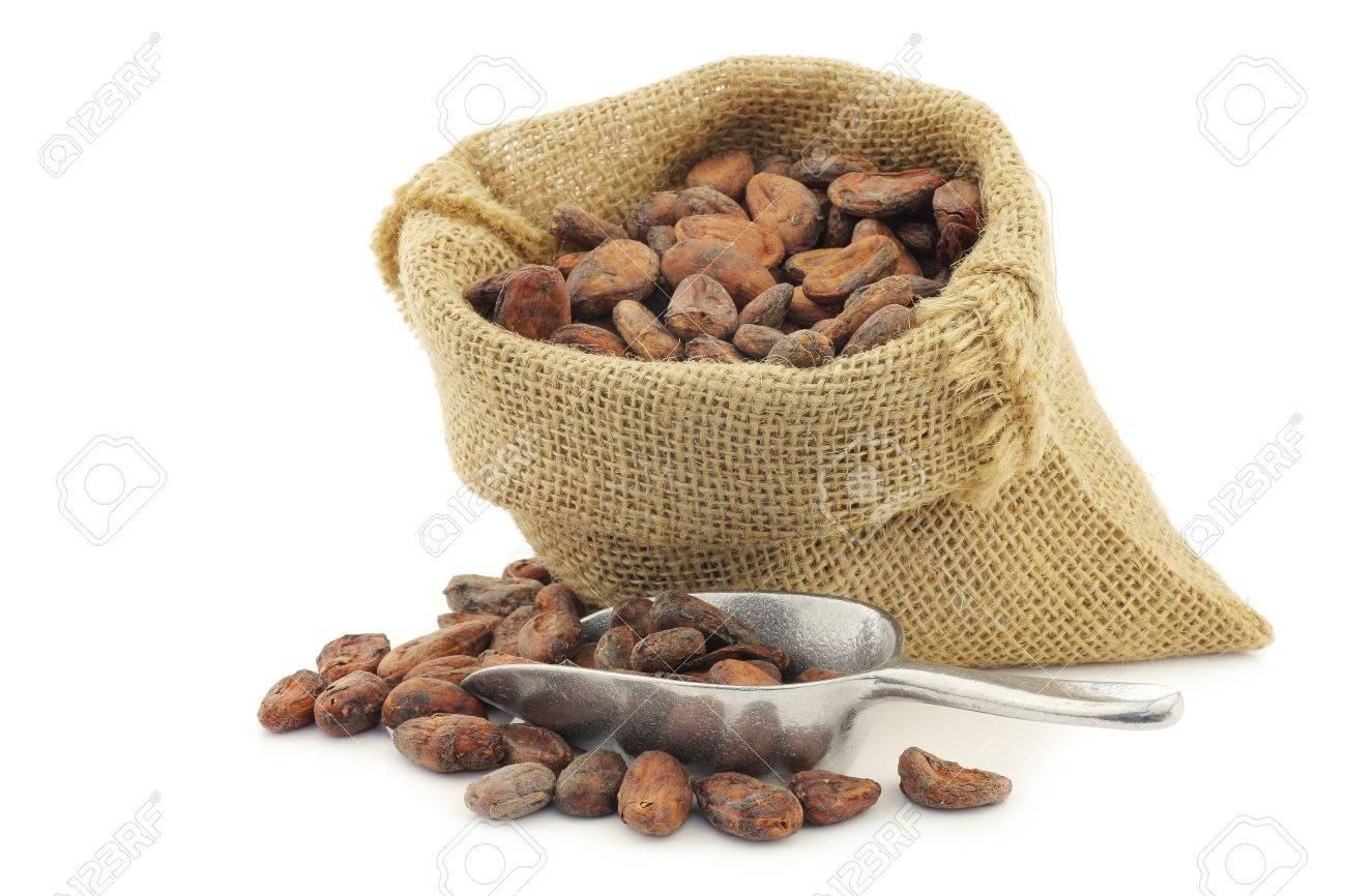 cacao en grano en una bolsa de arpillera con una cuchara de aluminio sobre un fondo