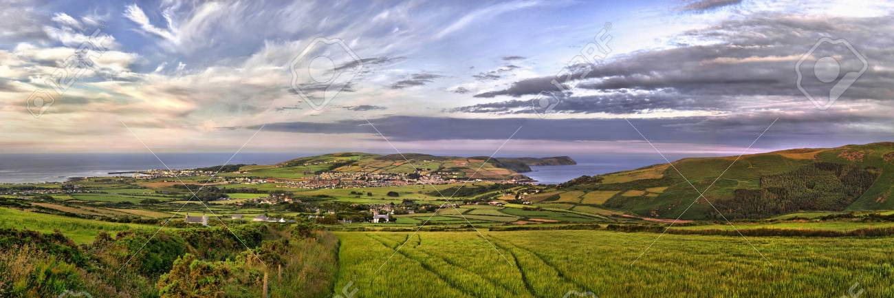 HDR Panorama of South of the Isle of Man with Port st. Mary, Calf of Man and Port Erin Stock Photo - 11690621