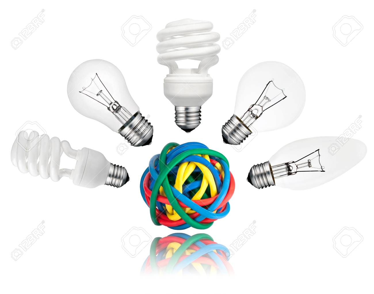 Solution - Various Lightbulbs above ball of colored cables with reflection isolated on white background. Golf ball, candle, normal and saver type lightbulbs Stock Photo - 13241125
