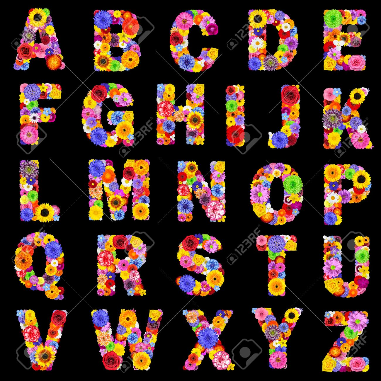 Full Floral Alphabet Isolated on Black Background.  Letters A to Z made of many colorful and original flowers Stock Photo - 23646574