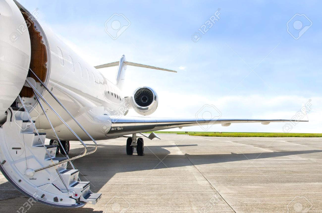 Elegant Stairs With Jet Engine On A Modern Private Jet Airplane Stock Photo    30114317