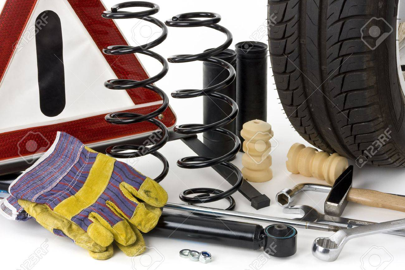 Warning triangle, car tires, shock absorbers, coil springs, dampers,