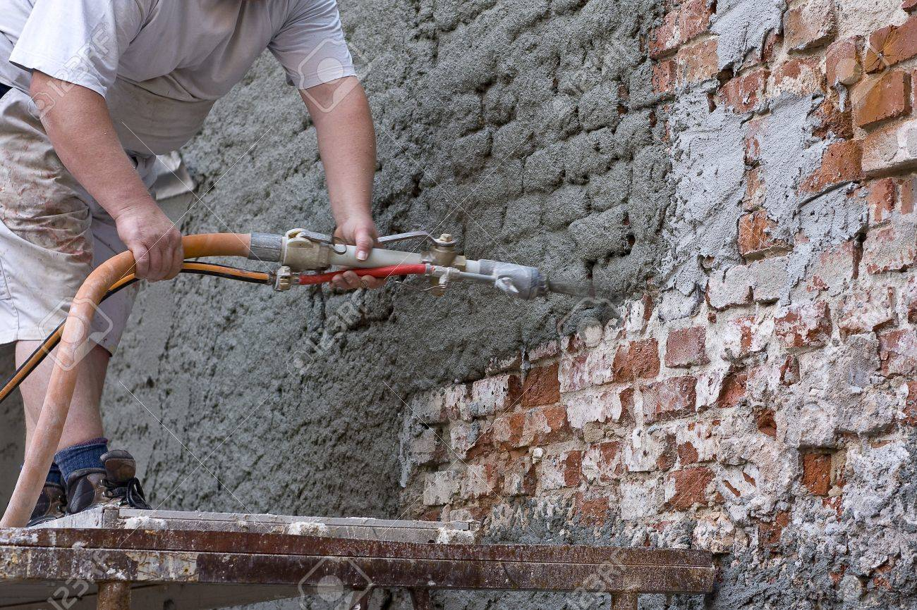 Plasterer Plastered An Old Exterior Wall Stock Photo Picture And