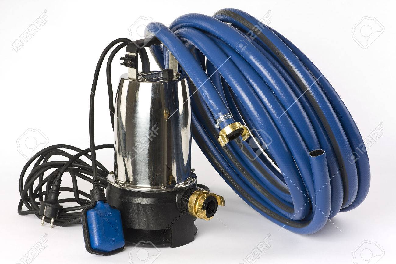A submersible pump for dirty water and a blue water hose on a white background displayed  sc 1 st  123RF.com & A Submersible Pump For Dirty Water And A Blue Water Hose On A ...