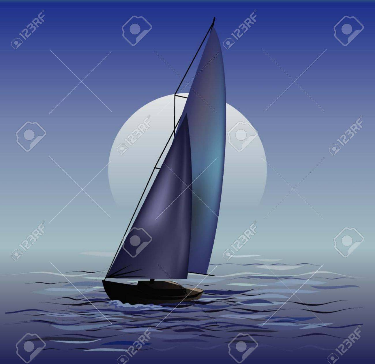 Sailing boat in moonrise Stock Vector - 6657208