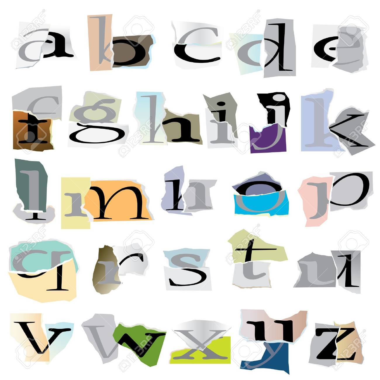 Alphabet Set :small Collage Latters Based On Ripped Paper Pieces ...