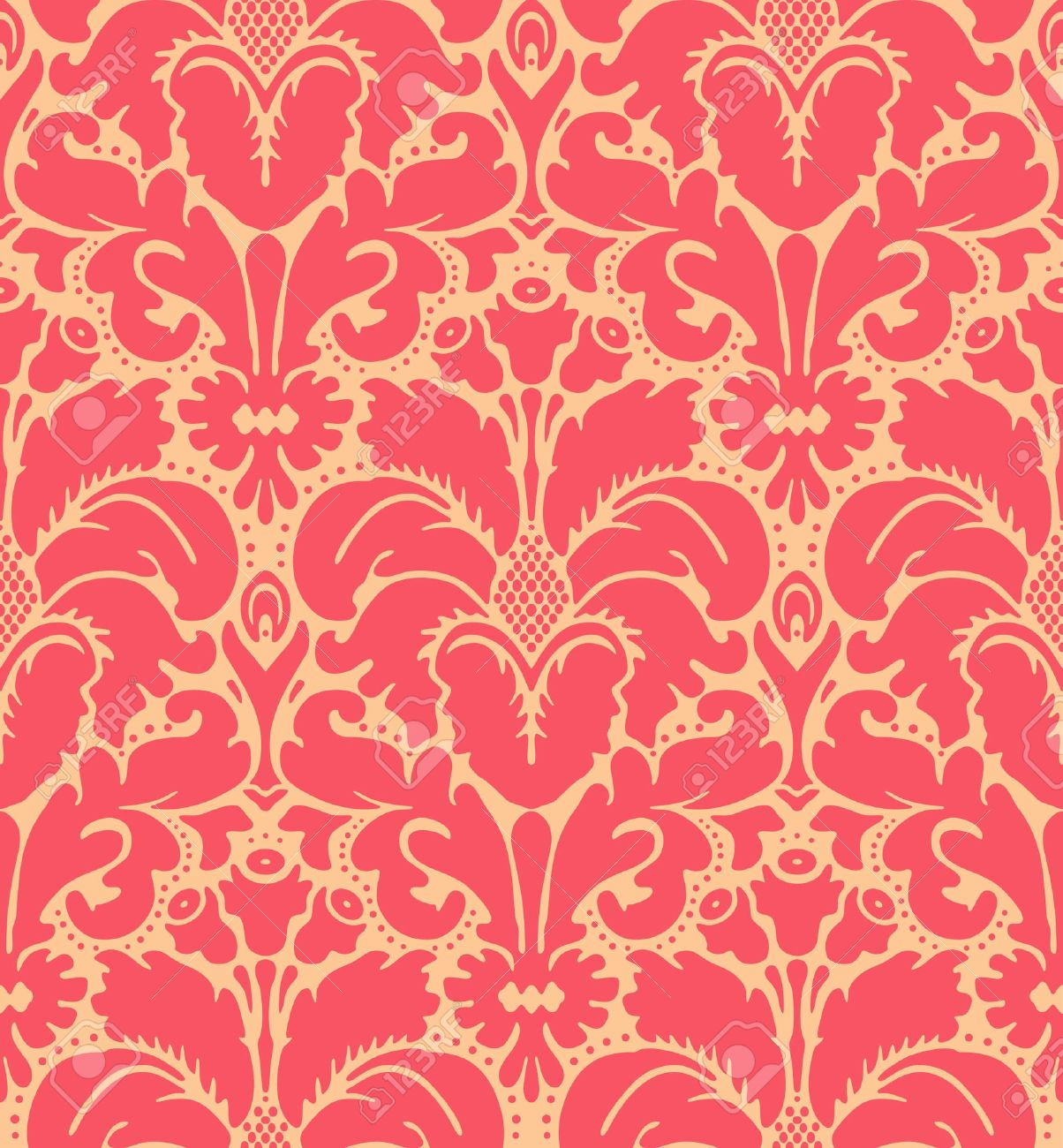 Seamless Baroque Style Damask Background Stock Vector