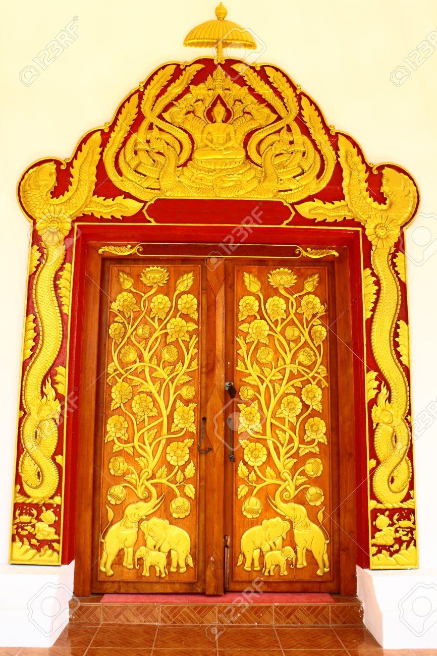 Thai style temple door Stock Photo - 8168697
