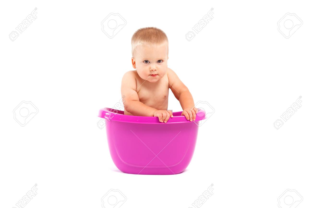 Isolated On White, Cute Happy Caucasian Baby Boy Take Bath In ...