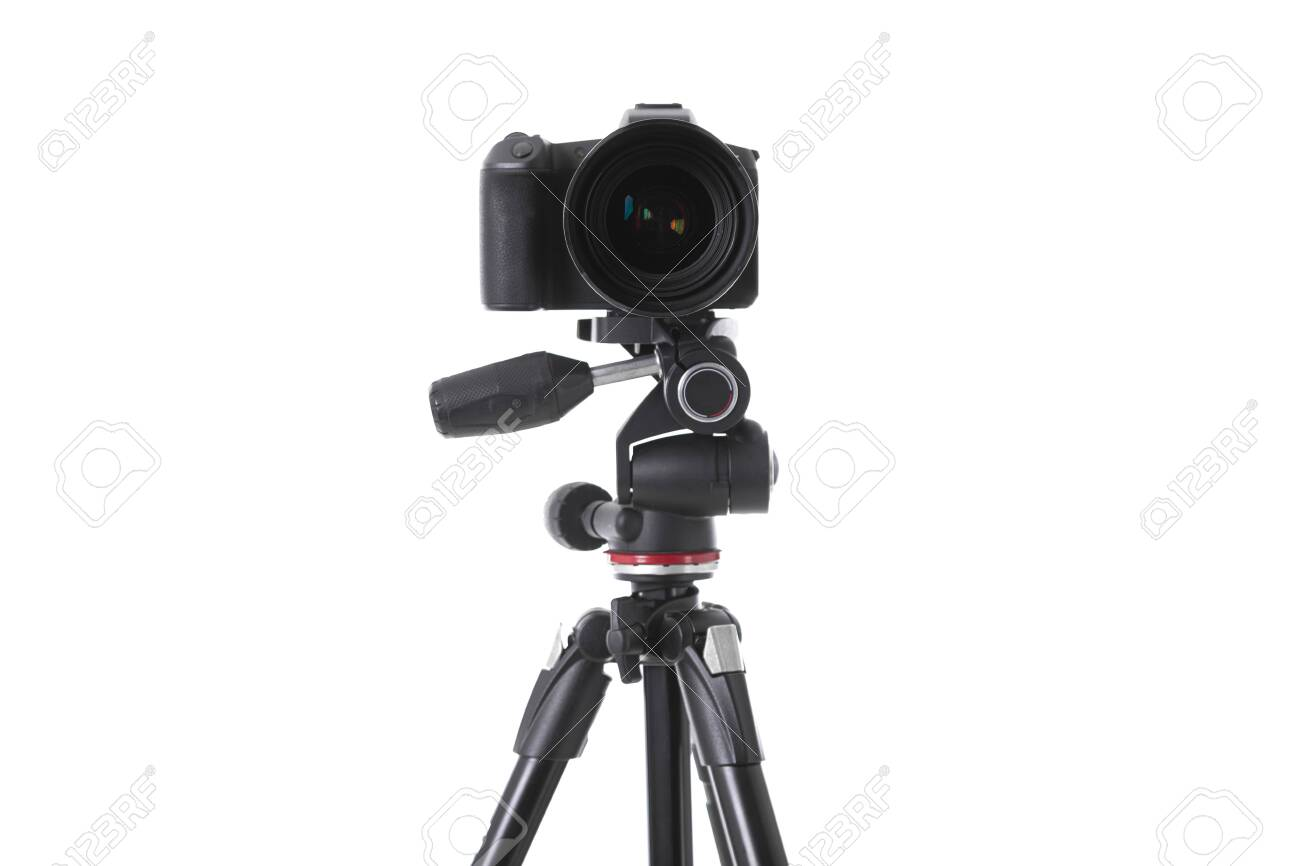 Front view of modern multifunctional black camera on holder isolated. Photo with depth of field - 131701395