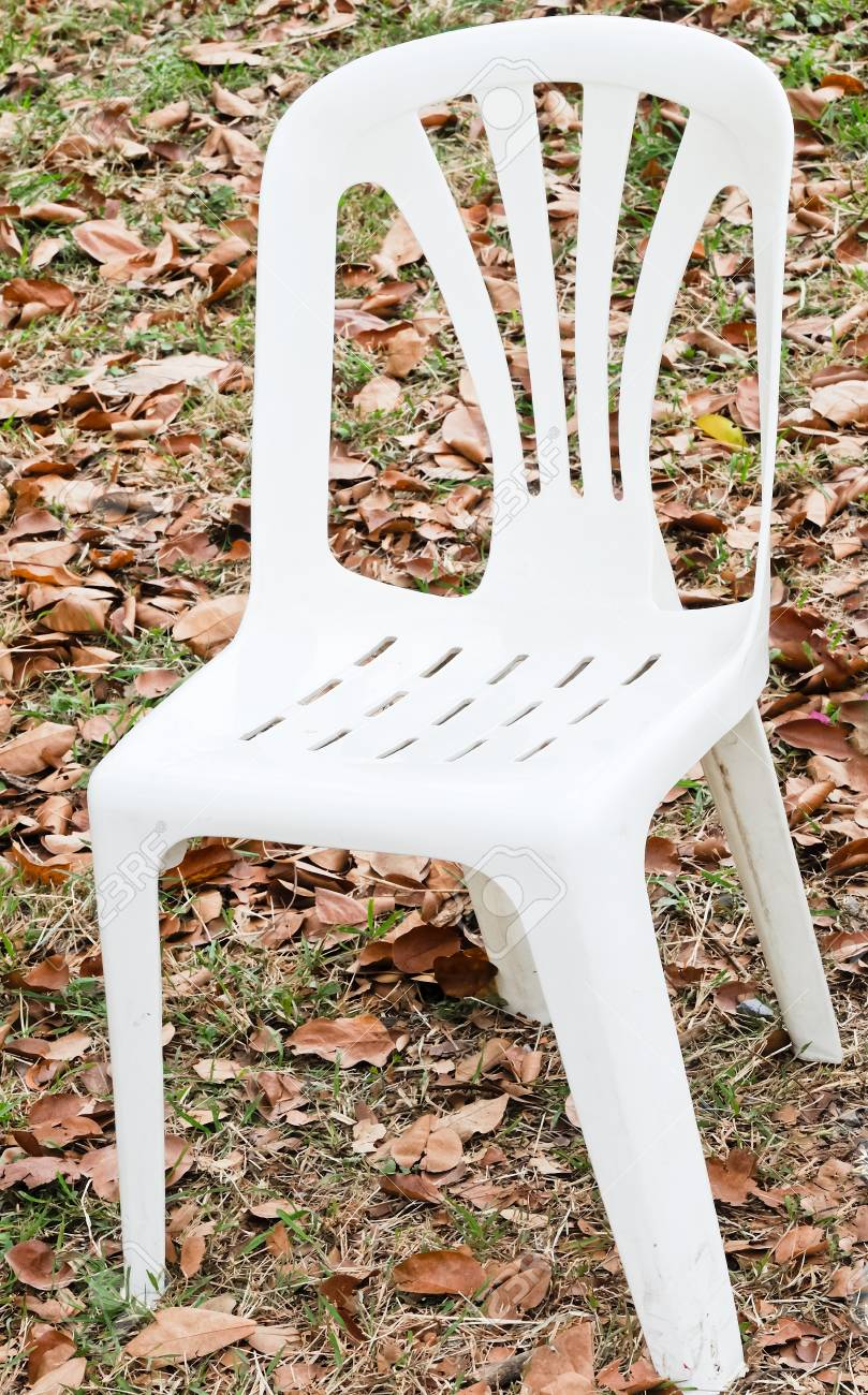 White plastic chair in the park of university. Stock Photo - 10407704