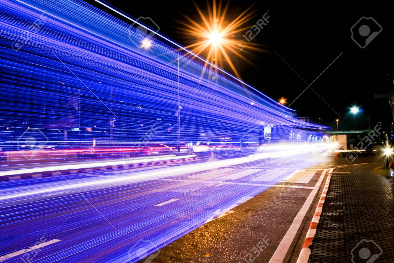 Color lights of the vehicle that ran over to the exhibition center in Thailand Stock Photo - 11202136