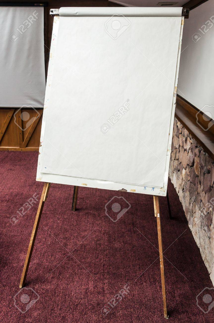 White paper board in the meeting room for presentation