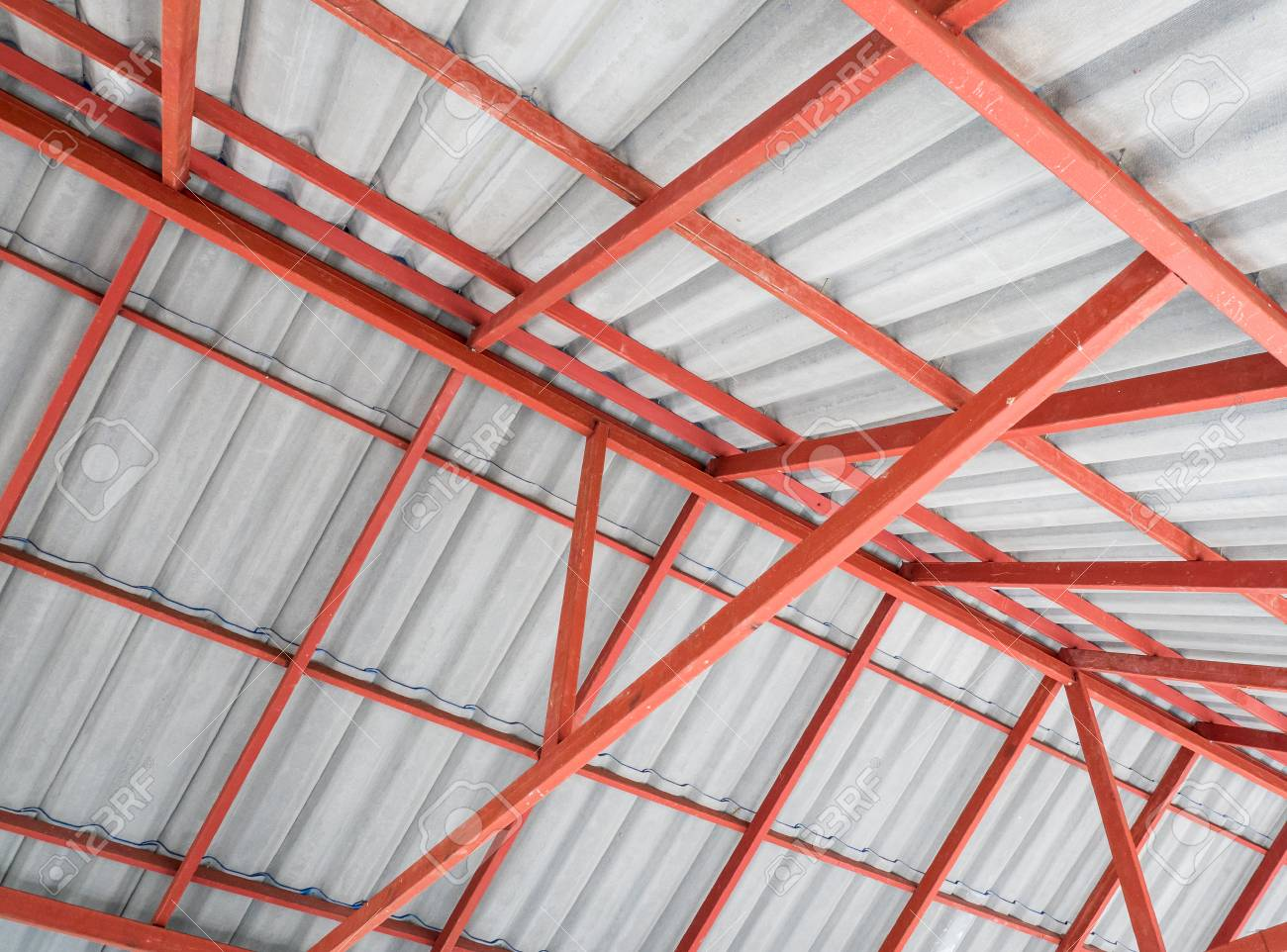 Inside of the Metal roof structure in the warehouse with the