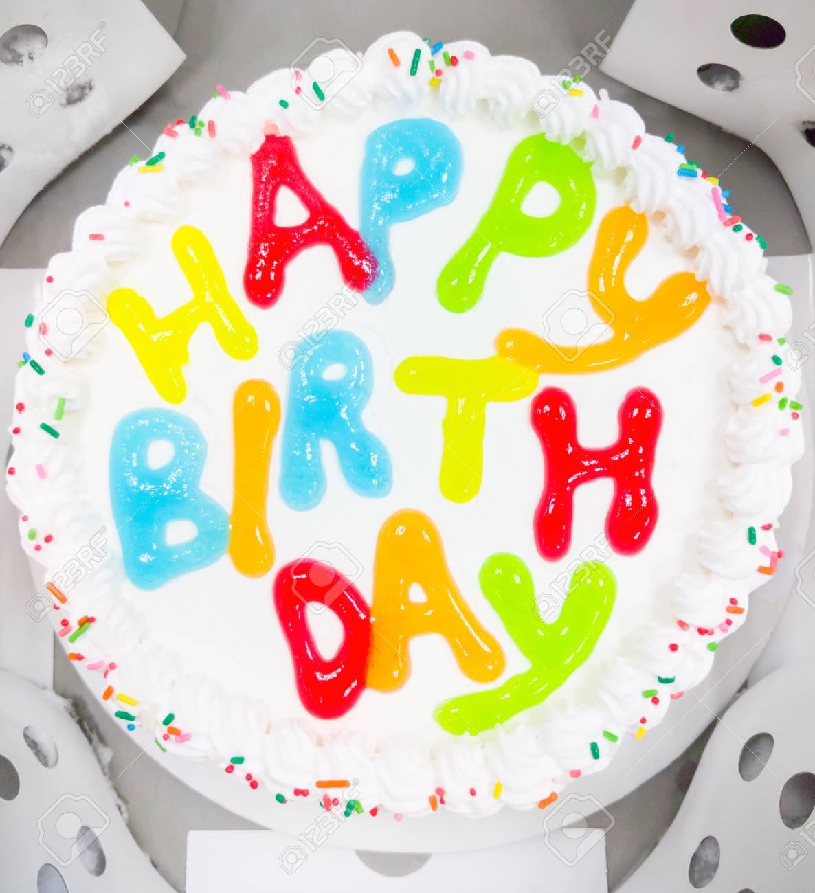 Awe Inspiring White Soft Ice Cream Cake With The Colorful Birthday Message Funny Birthday Cards Online Eattedamsfinfo
