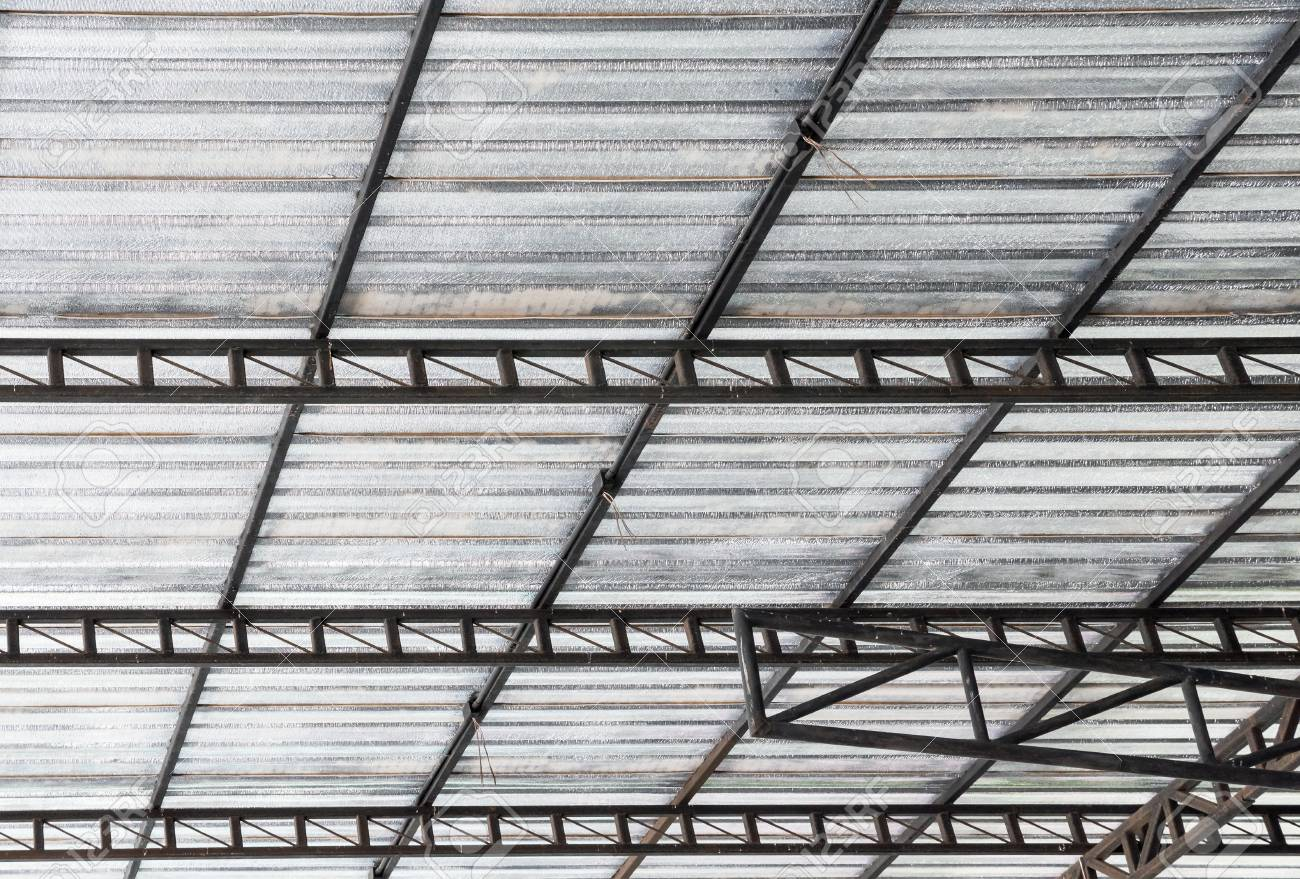 Steel Frame With The Insulation Sheet Under The Roof Of The Large ...