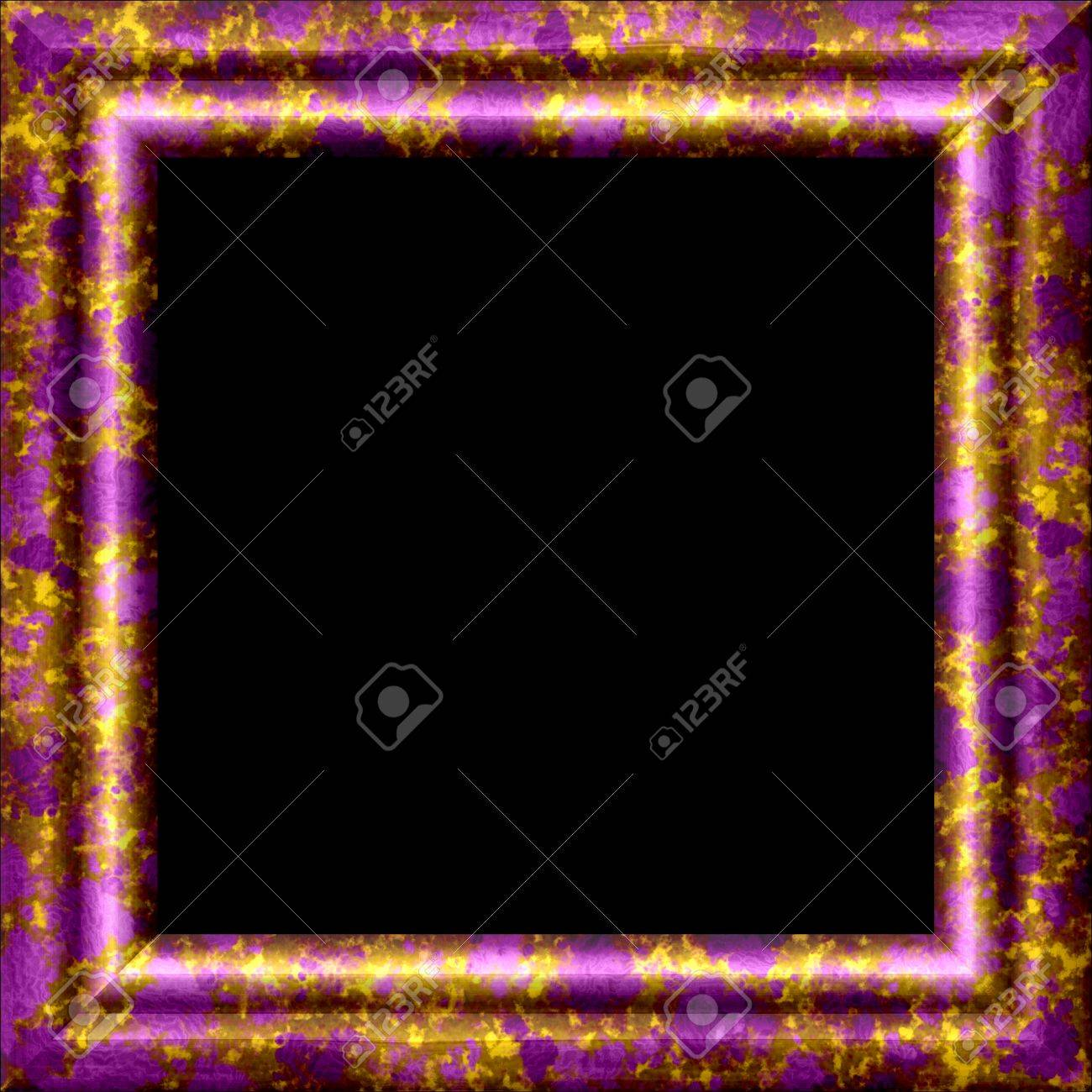 Purple Metal Or Wooden Ornamental Frame With Golden Splash Stock ...