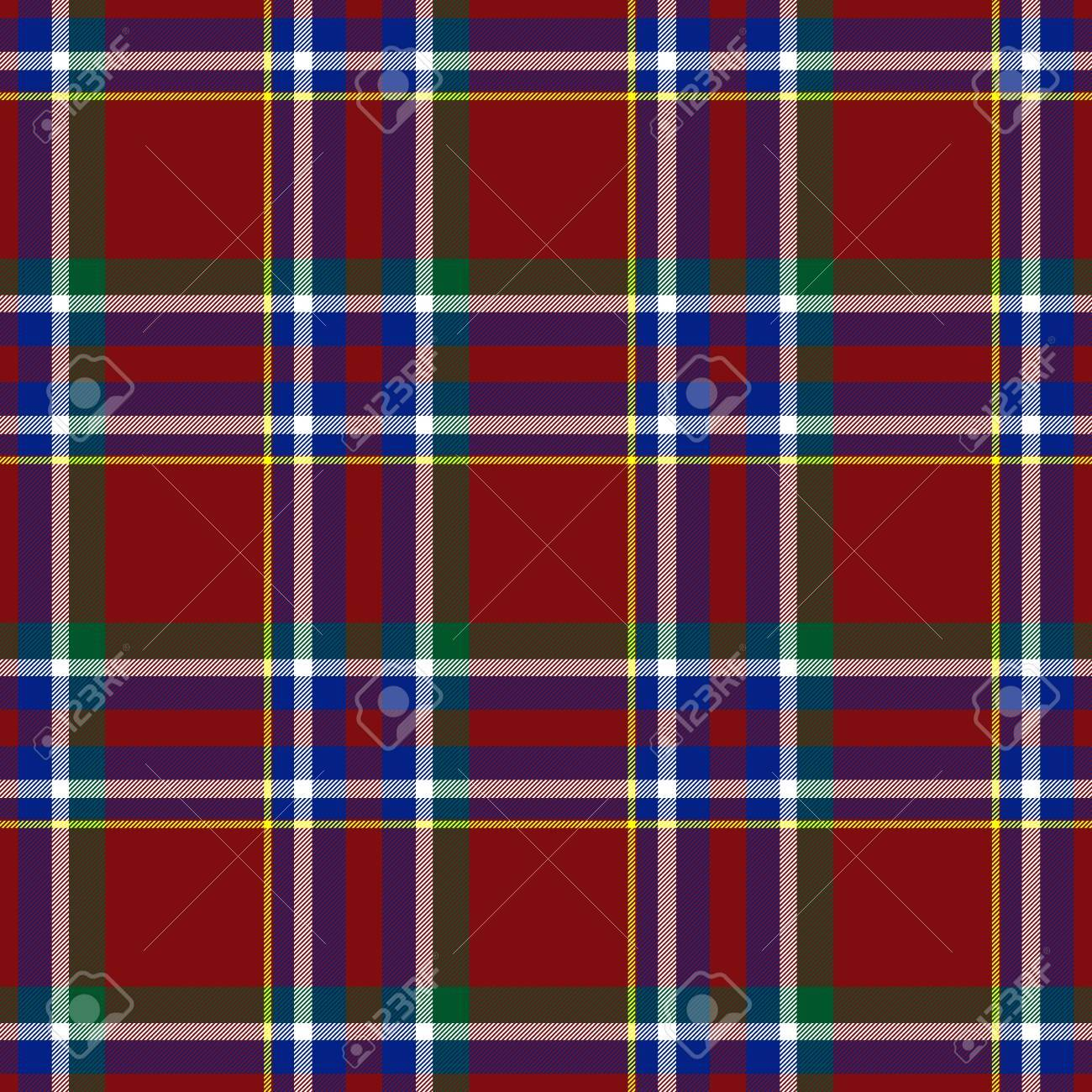 Traditional Scottish red, blue, green tartan pattern with white