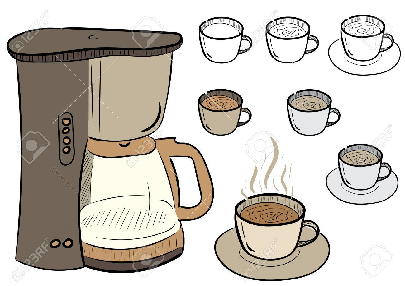 Clipart With A Set Of Coffee Mugs And The Coffee Maker Royalty Free