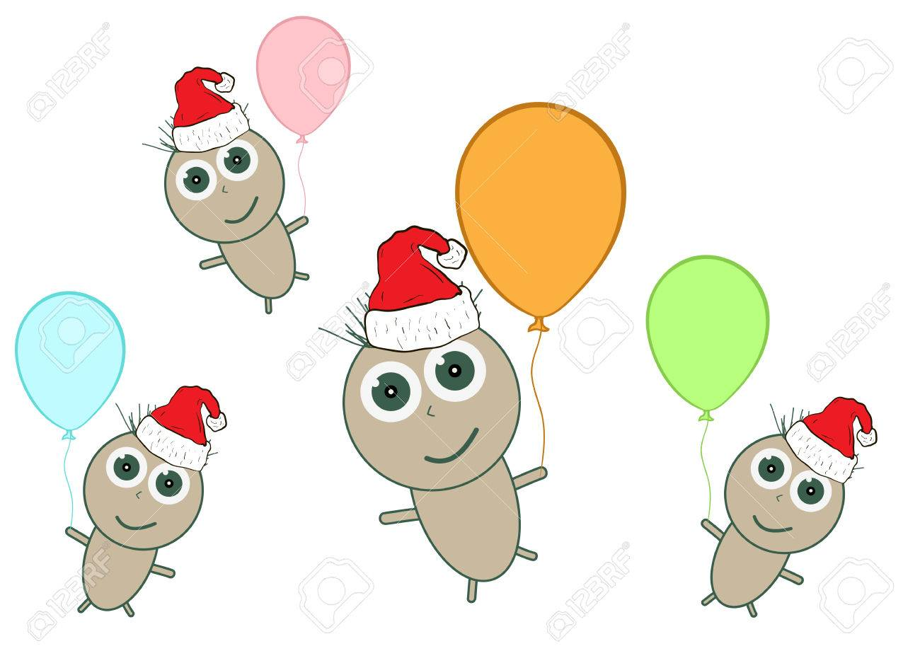 Clipart With Little Men In Christmas Caps On Balloons