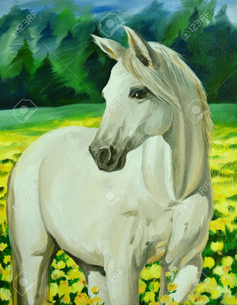 White Horse Oil Painting Stock Photo Picture And Royalty Free Image Image 92465249