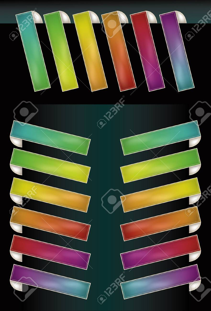 Note: Gradient Meshes are used. This is a set of glowing spectrum tags made to look like they are wrapping around something. Top set of horizontal tags and bottom vertical tags are on separate layers. Stock Vector - 5163823