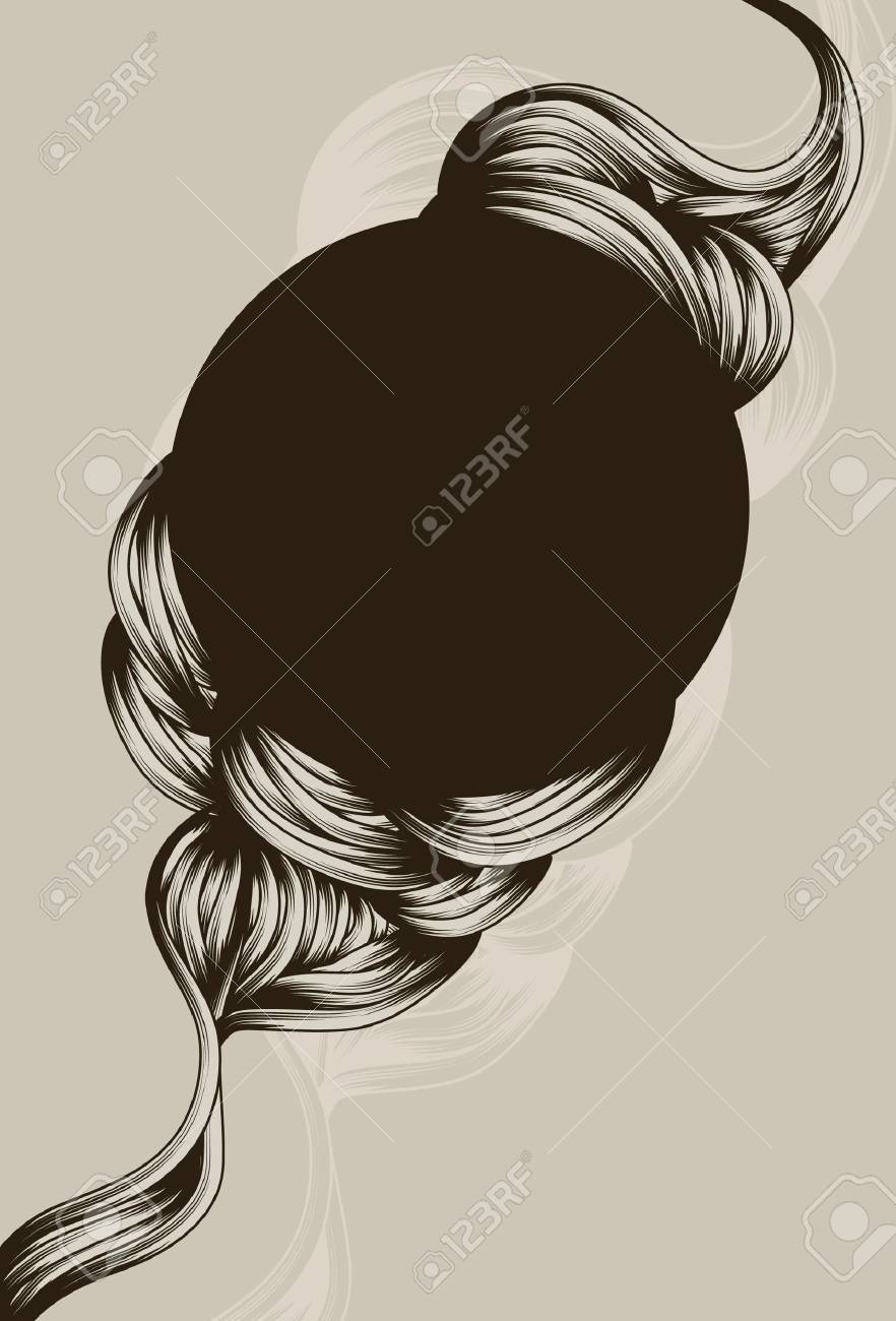 Hand drawn flowing swirl shapes around circle Stock Vector - 10105291