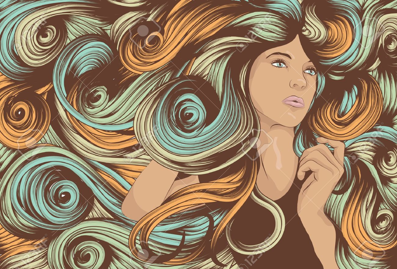 Beautiful woman with long swirling hair Stock Vector - 10444029