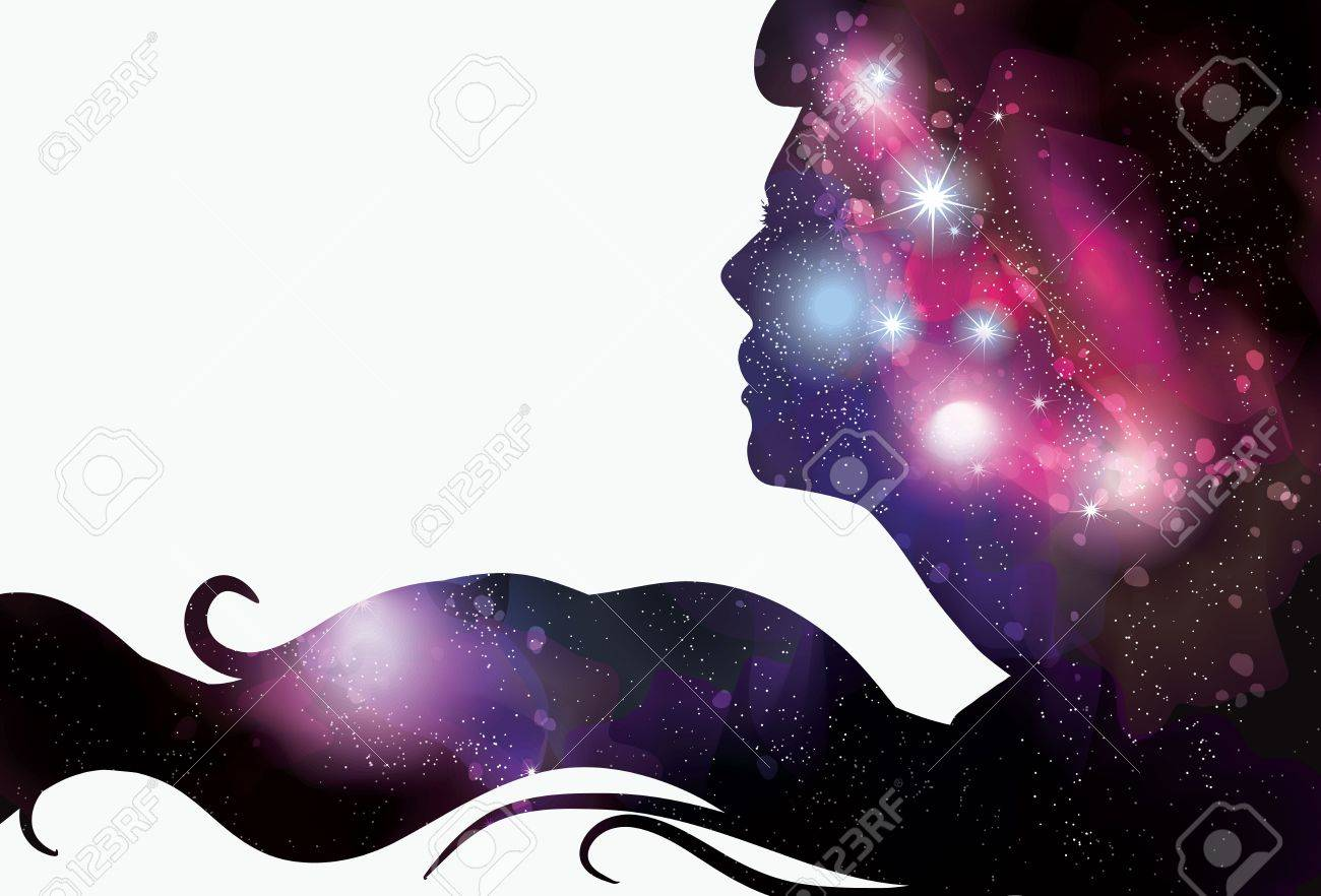 Woman s face silhouette with starry background hair Stock Vector - 21191620