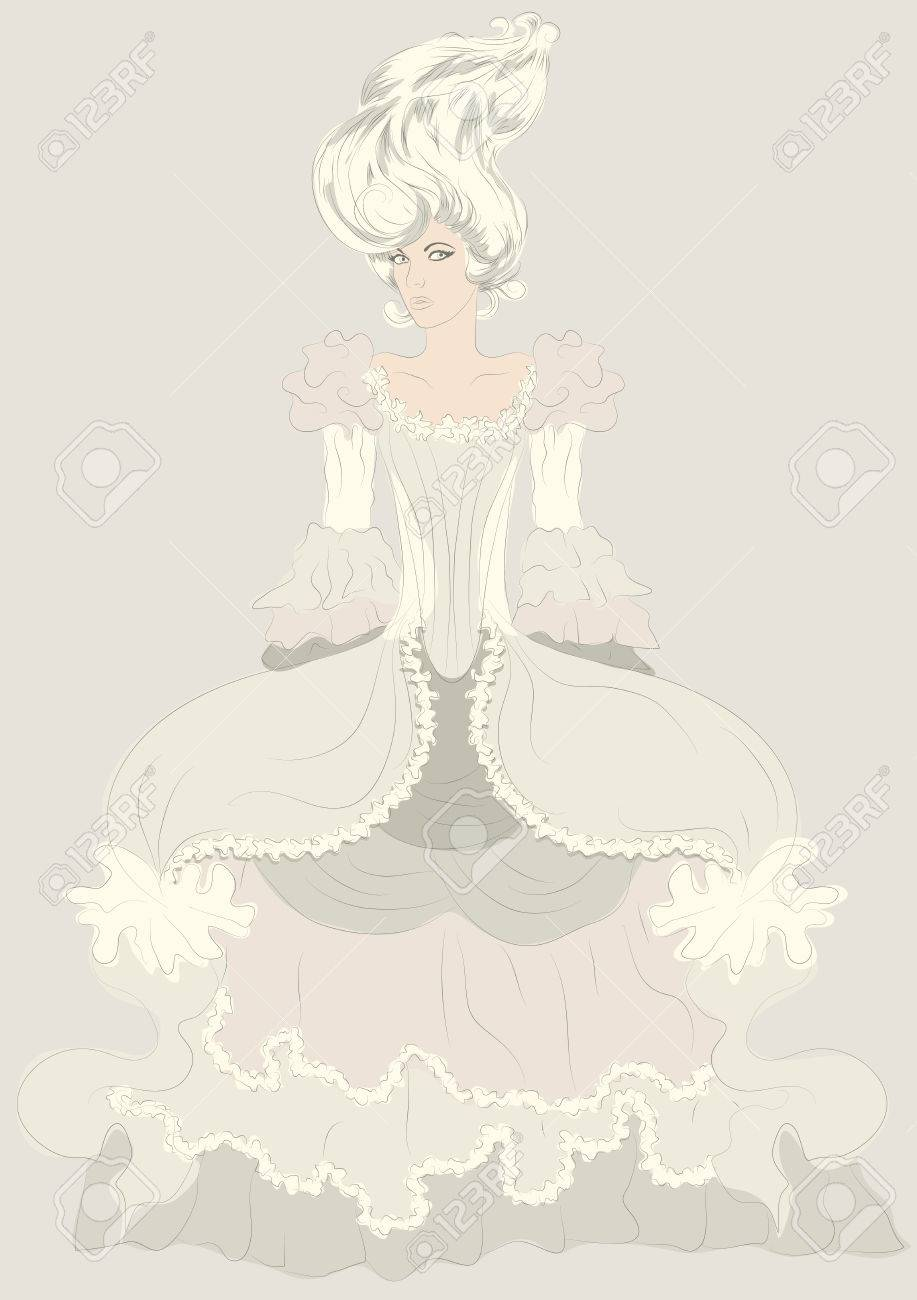 Hand drawn detailed fashion illustration sketch of woman in elaborate period costume dress Stock Vector - 26569617