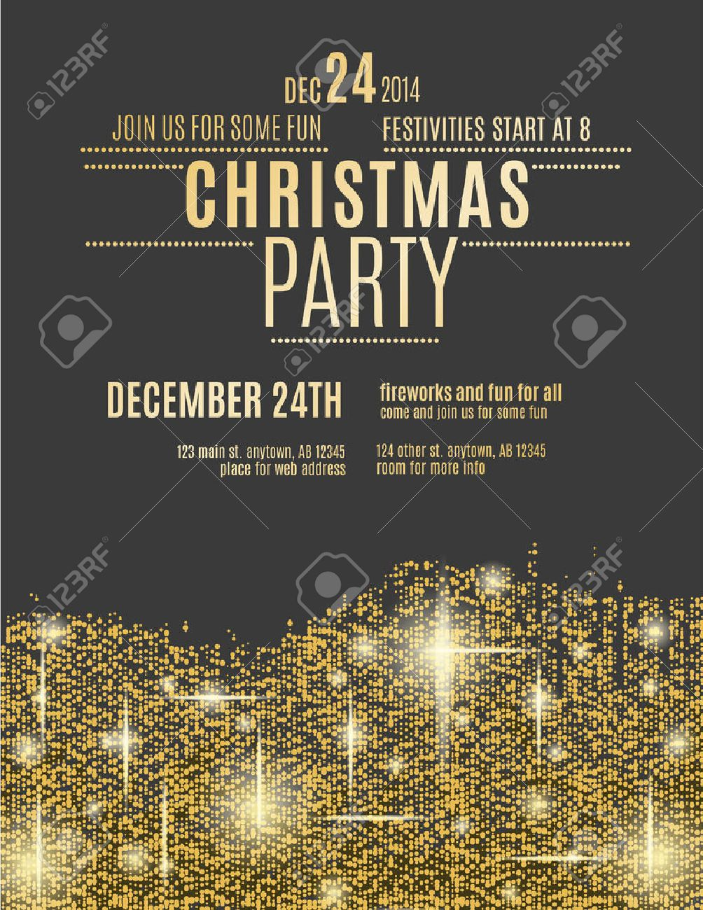 Glittering Gold Christmas Party Invitation Flyer Royalty Free ...