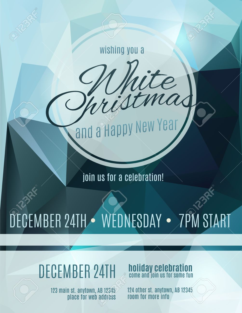 simple and elegant white christmas party flyer invitation royalty