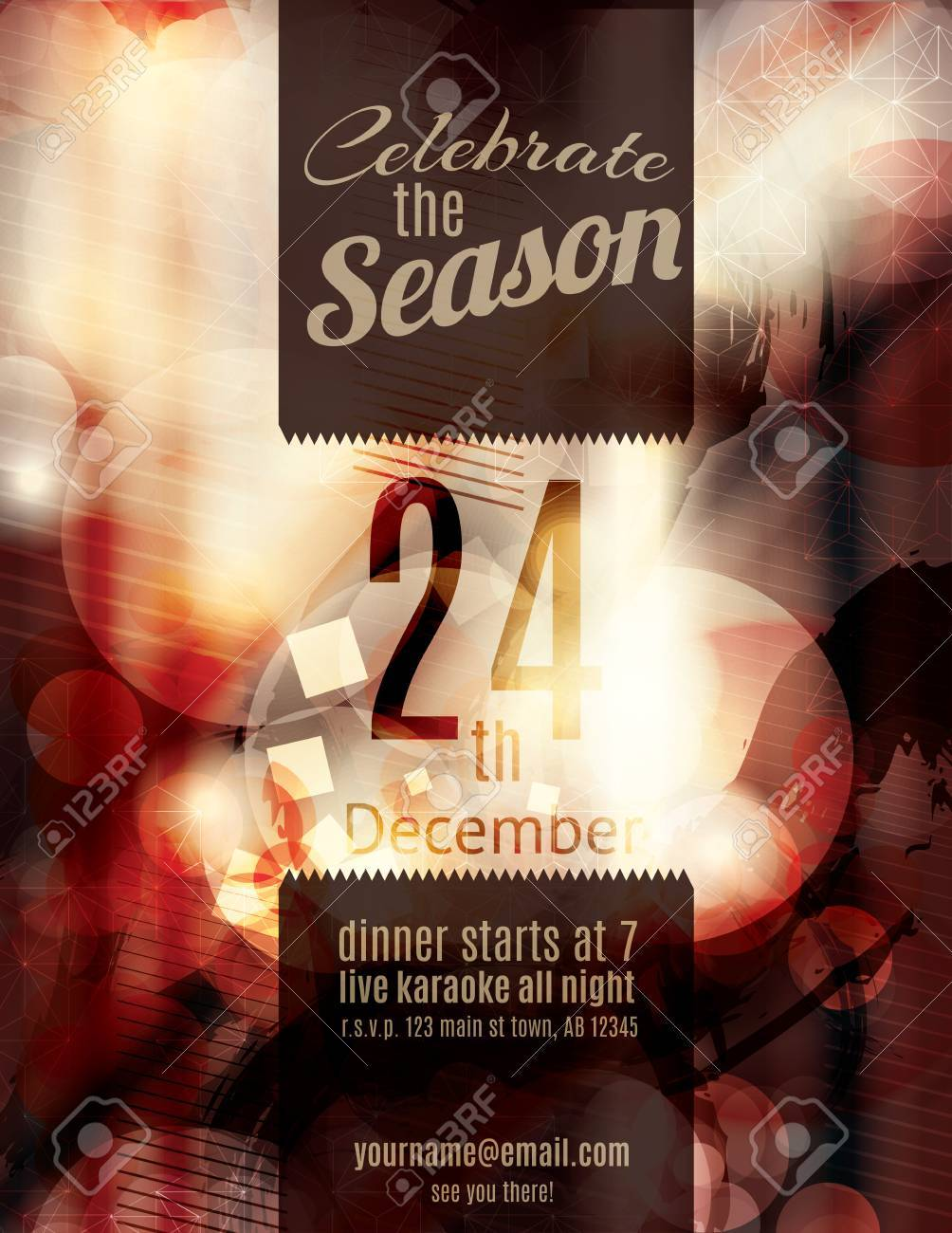 Beautiful Red Grunge Blurry Christmas Holiday Party Invitation