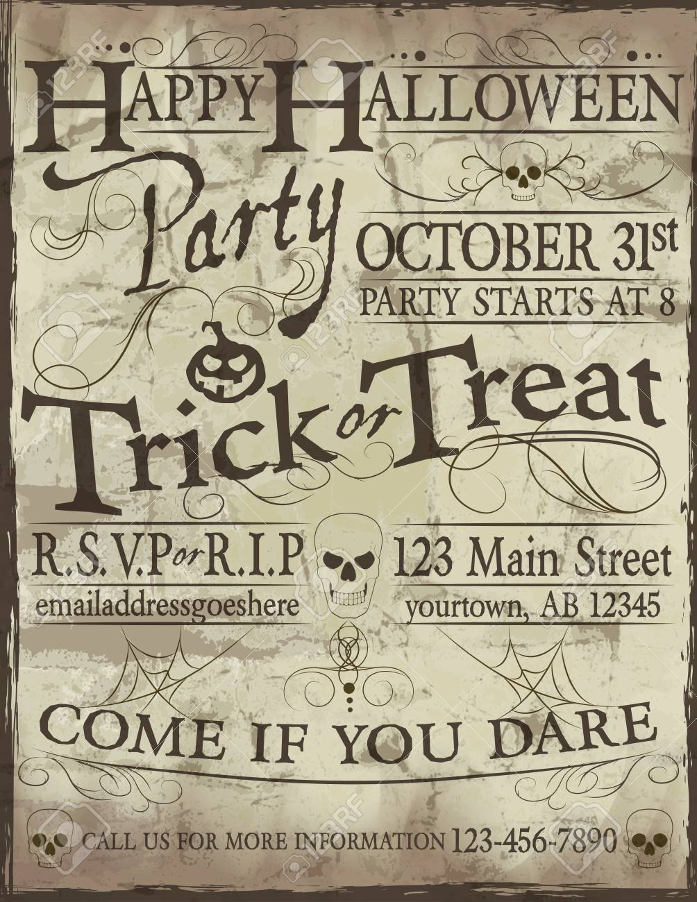 Fun Hand Lettering Happy Halloween Party Invitation Template Royalty ...