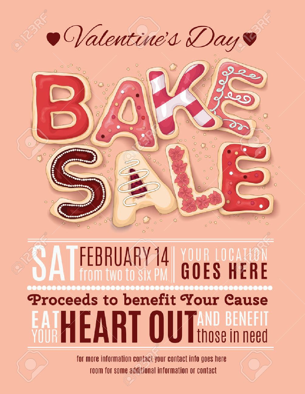 Hand Drawn Decorated Cookies That Say Bake Sale For A Valentine S