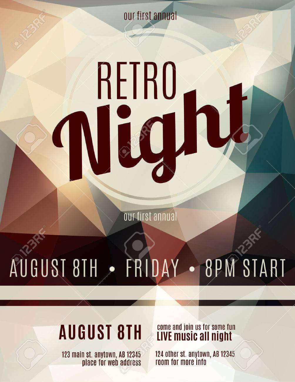 Retro Style Night Club Flyer Template Royalty Free Cliparts – Night Club Flyer