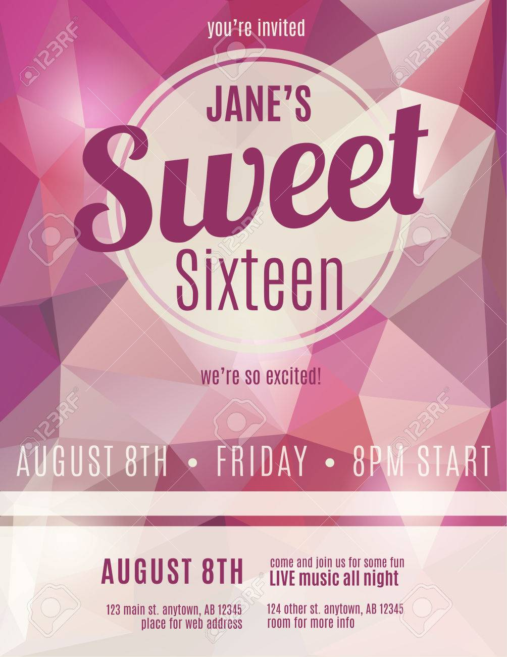 sweet sixteen party invitation flyer template design royalty free