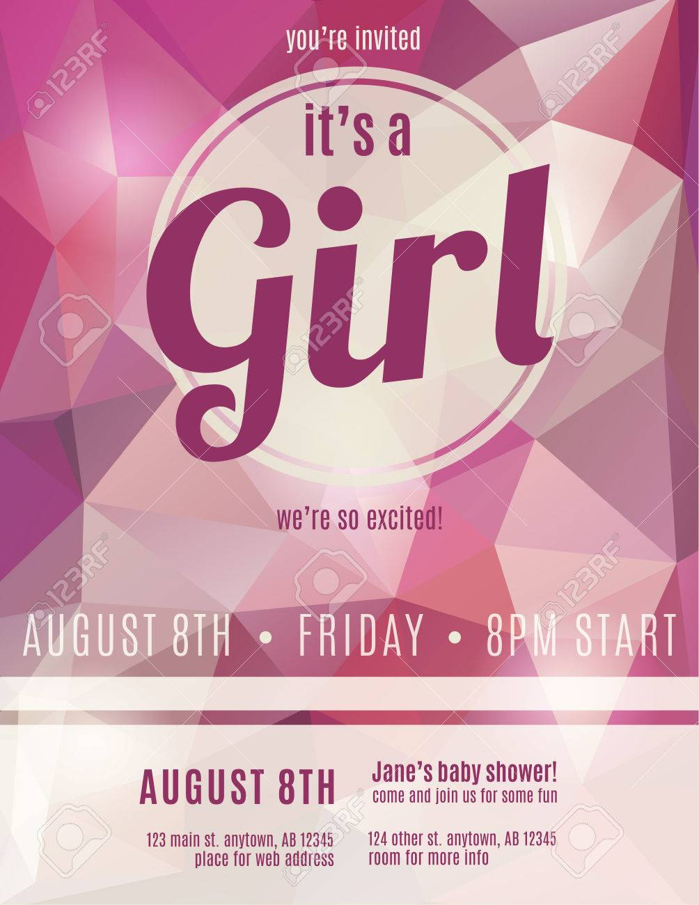Its A Girl Birth Announcement Flyer Design Template For Baby Royalty Free Cliparts Vectors And Stock Illustration Image 35653205