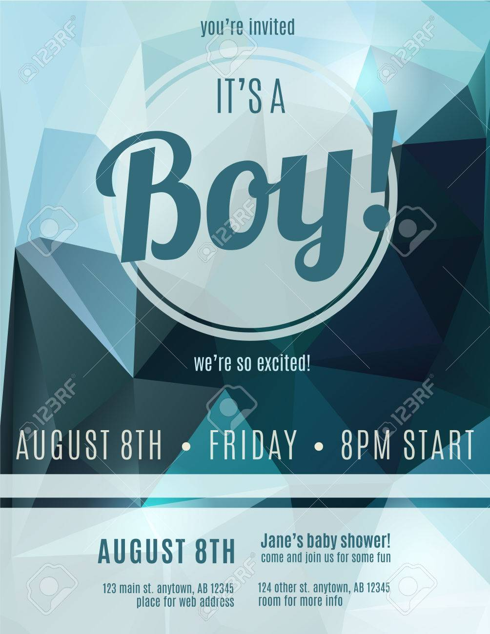Its A Boy Birth Announcement Flyer Design Template For Baby Shower Stock  Vector   35653206