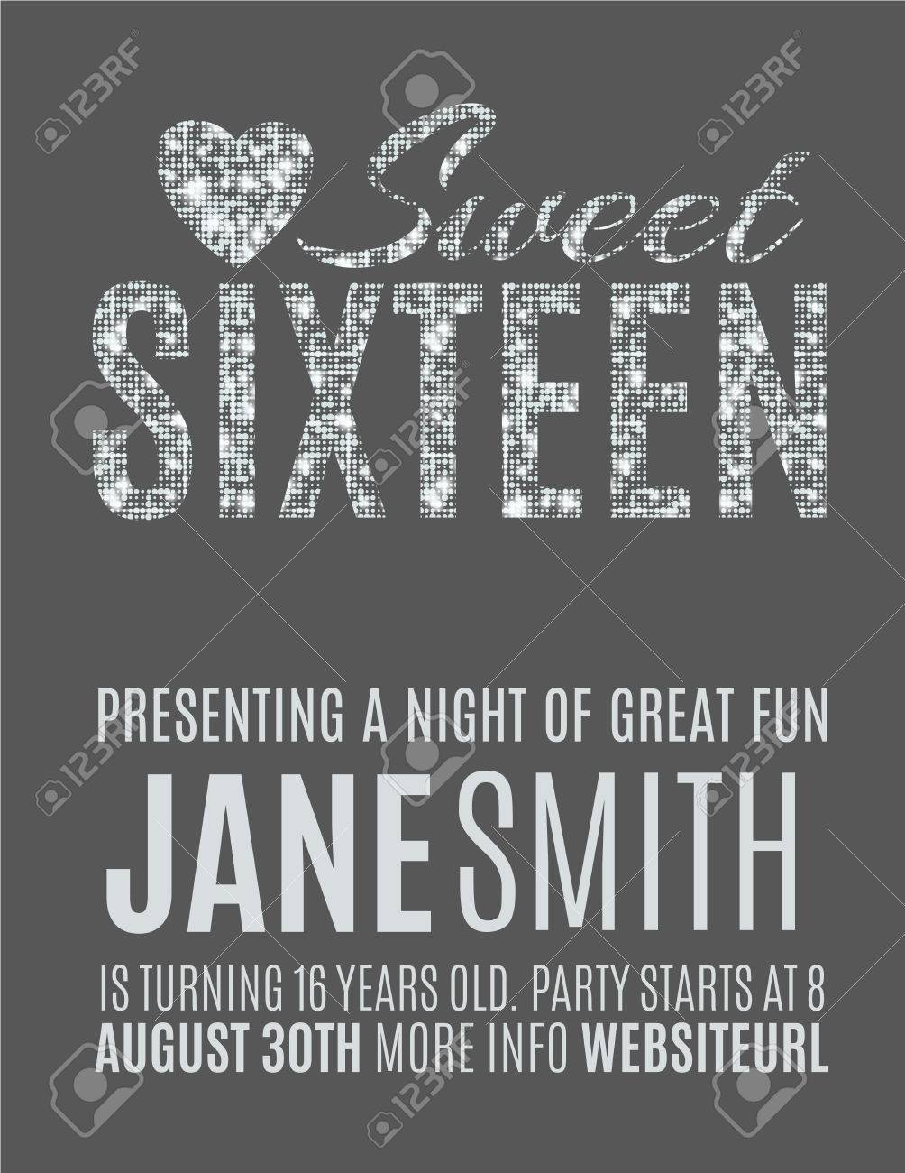 Sweet Sixteen Glitter Party Invitation Flyer Template Design Royalty ...