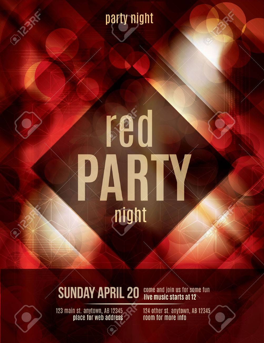 Red Light Effect Party Invitation Flyer Template Royalty Free – Red Flyer Template